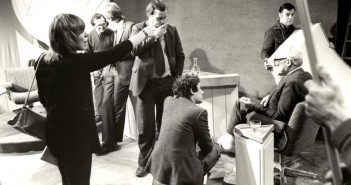 Local political programme featuring Michael Foot in his first TV appearance after being elected as leader of the Labour Party.  On the left is Pat Pearson, director.  In the background is Stuart Prebble and Mike Short with Stephen Kelly, kneeling foreground.