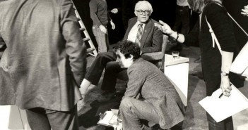Another view of Michael Foot with Stephen Kelly kneeling in front.