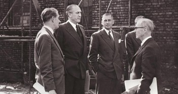 Sidney Bernstein with architects ext building site
