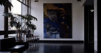 Reception with large piece of artwork